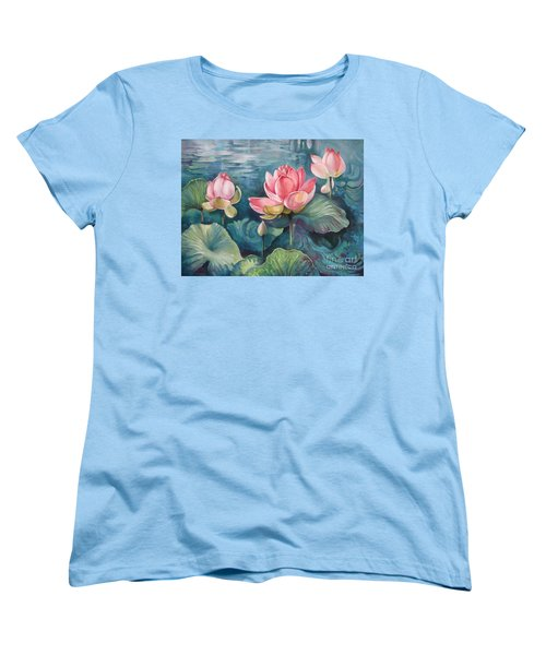 Women's T-Shirt (Standard Cut) featuring the painting Lotus Pond by Elena Oleniuc