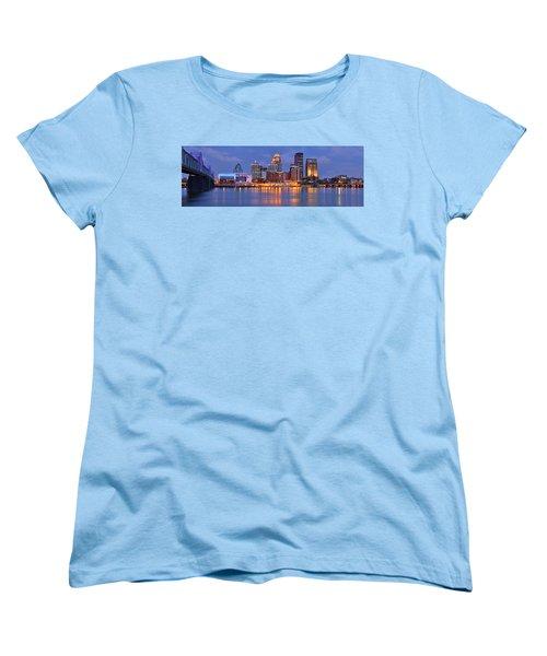 Louisville Skyline At Dusk Sunset Panorama Kentucky Women's T-Shirt (Standard Cut) by Jon Holiday