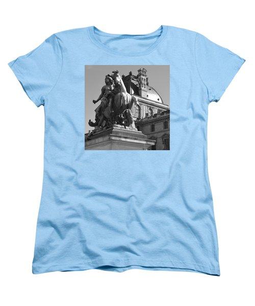 Louvre Man On Horse Women's T-Shirt (Standard Cut) by Cheryl Miller