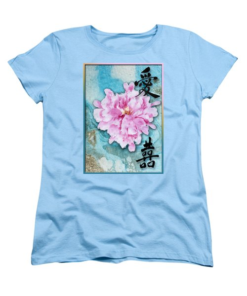 Women's T-Shirt (Standard Cut) featuring the mixed media Love Double Happiness With Red Peony by Peter v Quenter