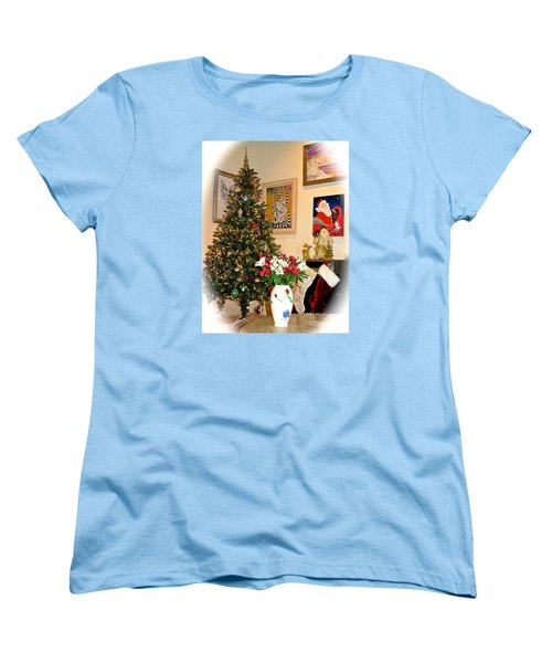 Love In Our Hearts And Santa In The Corner Women's T-Shirt (Standard Cut) by Phyllis Kaltenbach