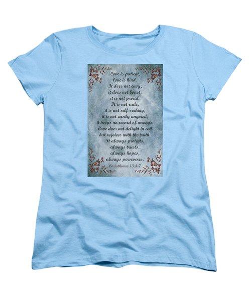 Love Is Patient Clouds Gold Leaf Women's T-Shirt (Standard Cut)