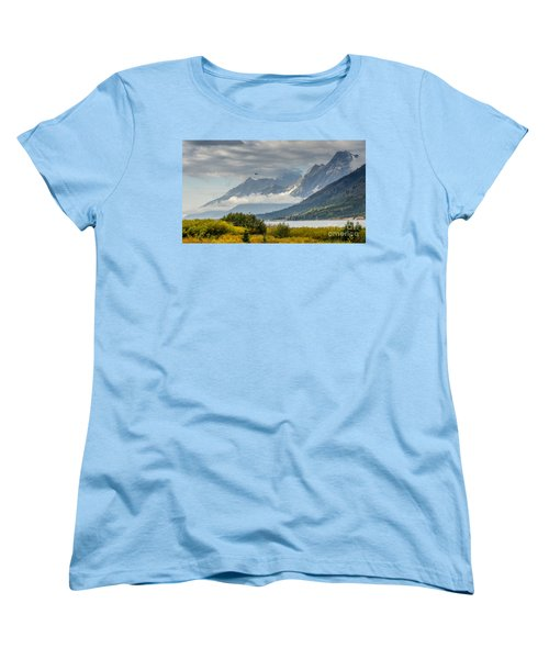 Low Clouds On The Teton Mountains Women's T-Shirt (Standard Cut) by Debra Martz