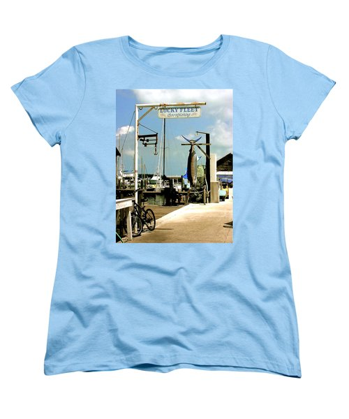 Women's T-Shirt (Standard Cut) featuring the painting Lucky Fleet Key West  by Iconic Images Art Gallery David Pucciarelli