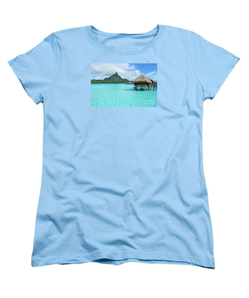 Luxury Overwater Vacation Resort On Bora Bora Island Women's T-Shirt (Standard Cut) by IPics Photography
