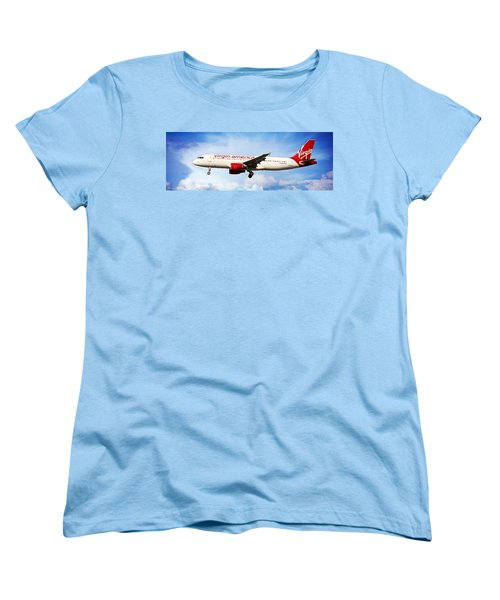 Airline Women's T-Shirt (Standard Cut) featuring the photograph Virgin America Mach Daddy - Rare by Aaron Berg