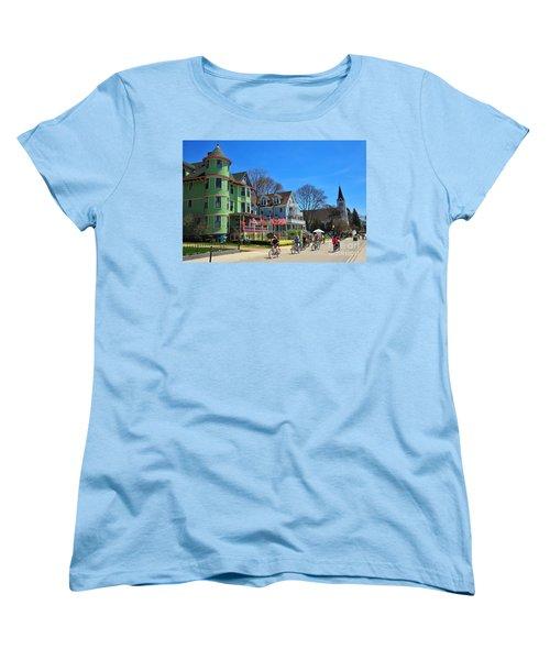 Mackinac Island Waterfront Street Women's T-Shirt (Standard Cut) by Terri Gostola