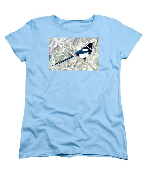 Magpie On Aspen Tree Women's T-Shirt (Standard Cut) by Marilyn Burton
