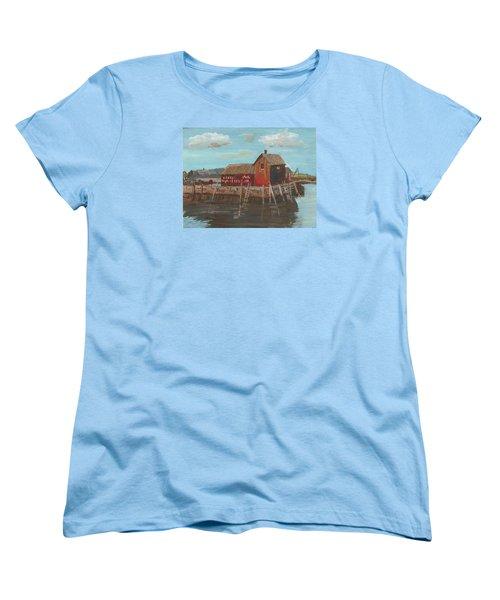 Maine Fishing Shack Women's T-Shirt (Standard Cut) by Christine Lathrop