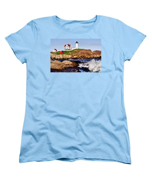 Maine's Nubble Light Women's T-Shirt (Standard Cut) by Mitchell R Grosky