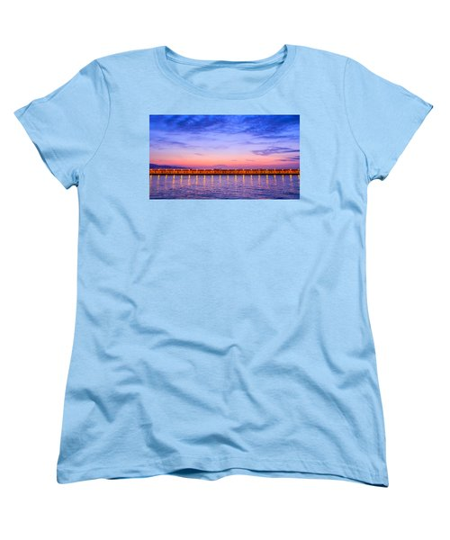 Women's T-Shirt (Standard Cut) featuring the photograph Malaga Pink And Blue Sunrise  by Debra Martz