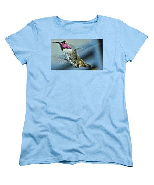 Women's T-Shirt (Standard Cut) featuring the photograph Male Hummingbird Free As A Bird by Jay Milo