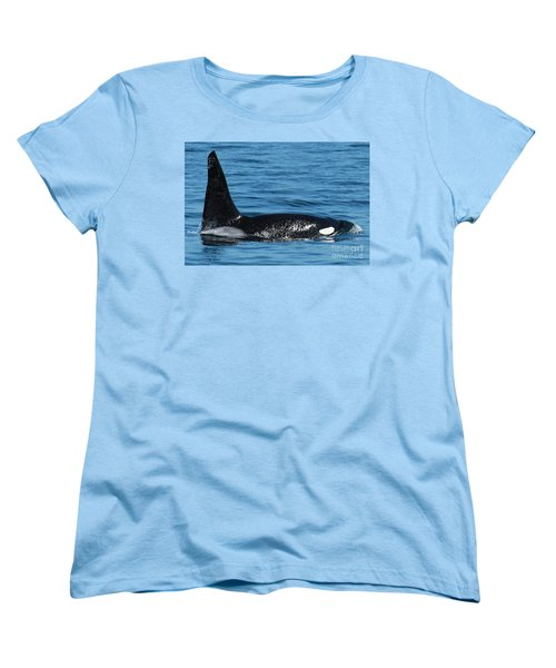 Women's T-Shirt (Standard Cut) featuring the photograph Lonesome George Ca165  Male Orca Killer Whale In Monterey Bay California 2013 by California Views Mr Pat Hathaway Archives