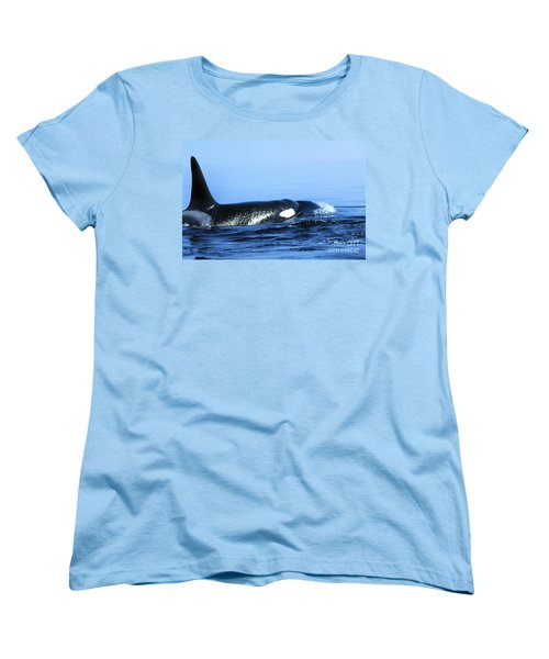 Women's T-Shirt (Standard Cut) featuring the photograph Male Orca Off The San Juan Islands Washington 1986 by California Views Mr Pat Hathaway Archives