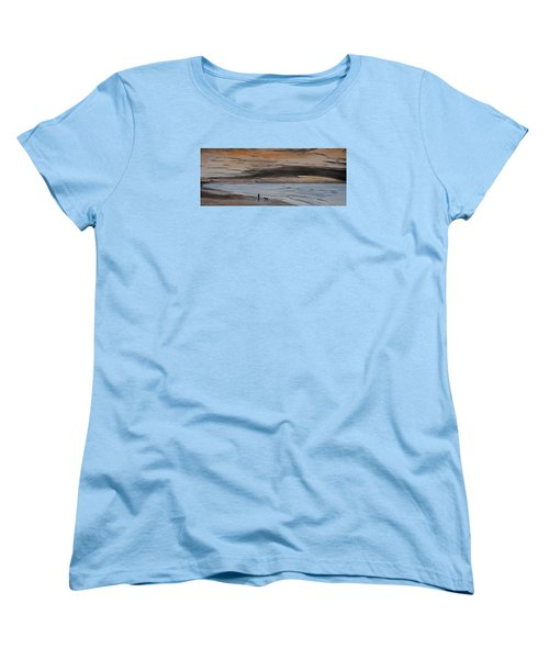Women's T-Shirt (Standard Cut) featuring the painting Man And Dog On The Beach by Ian Donley