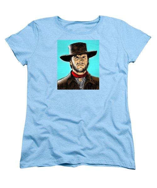 Women's T-Shirt (Standard Cut) featuring the mixed media Clint Eastwood by Salman Ravish
