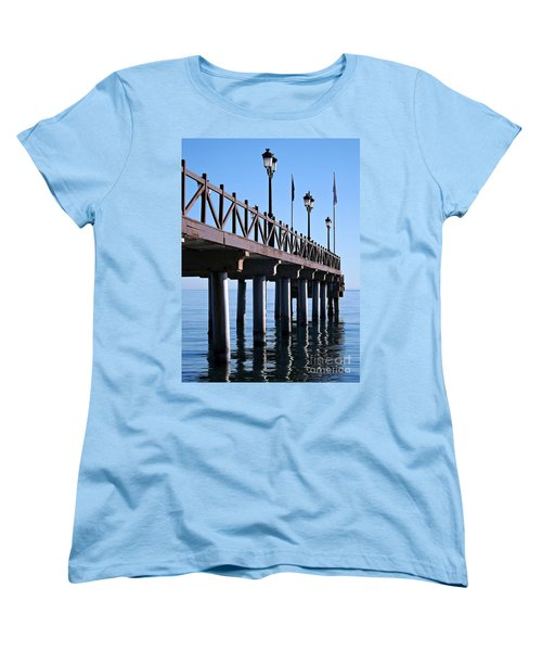 Women's T-Shirt (Standard Cut) featuring the photograph Marbella Pier Spain by Clare Bevan