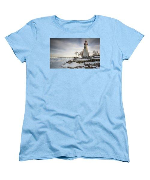 Marblehead Lighthouse Winter Women's T-Shirt (Standard Cut) by James Dean