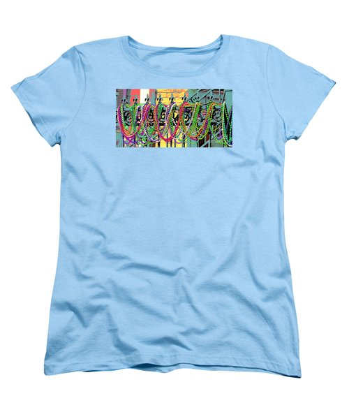Mardi Gras On Fleur-de-lis Women's T-Shirt (Standard Cut) by Luana K Perez