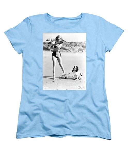 Marilyn Playing Baseball At The Beach Women's T-Shirt (Standard Cut) by R Muirhead Art