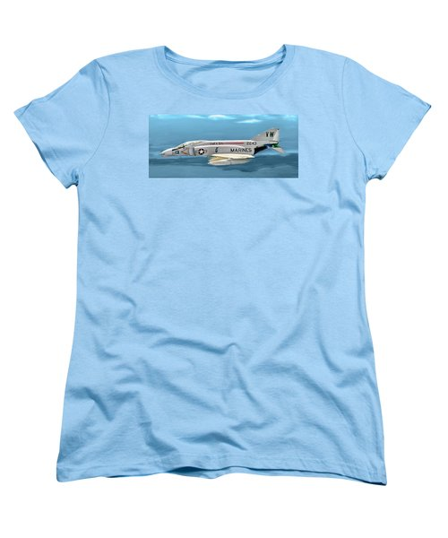 Marine F-4 Phantom  Painting Women's T-Shirt (Standard Cut) by Bob and Nadine Johnston
