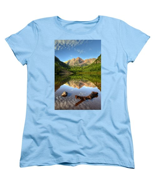 Maroon Bells And Maroon Lake Women's T-Shirt (Standard Cut) by Ken Smith