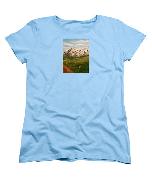 Women's T-Shirt (Standard Cut) featuring the painting Maroon Trail Splendor by Sheri Keith