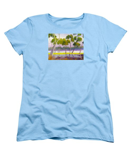 Women's T-Shirt (Standard Cut) featuring the painting Marshlands Murray River Red River Gums by Pamela  Meredith