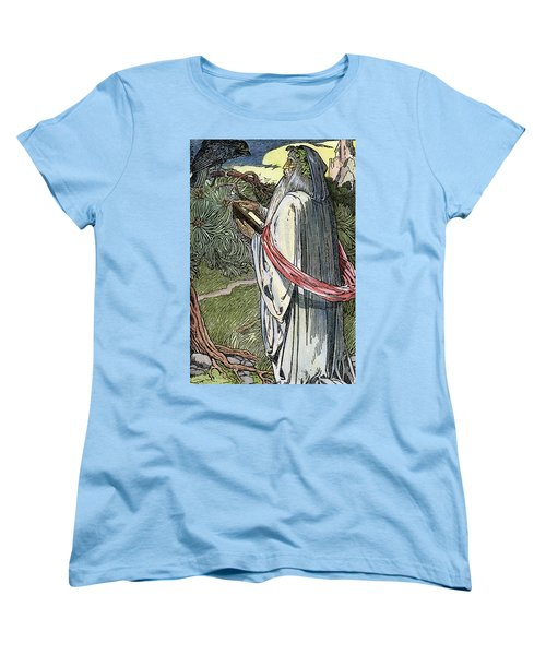 Women's T-Shirt (Standard Cut) featuring the drawing Merlin The Magician, 1923 by Granger