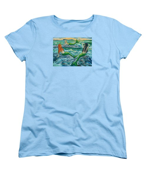 Mermaids On The Rocks Women's T-Shirt (Standard Cut) by Julie Brugh Riffey