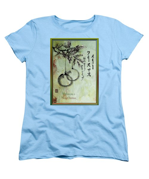 Women's T-Shirt (Standard Cut) featuring the painting Merry Christmas Japanese Calligraphy Greeting Card by Peter v Quenter
