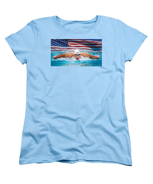Michael Phelps Artwork Women's T-Shirt (Standard Cut) by Sheraz A