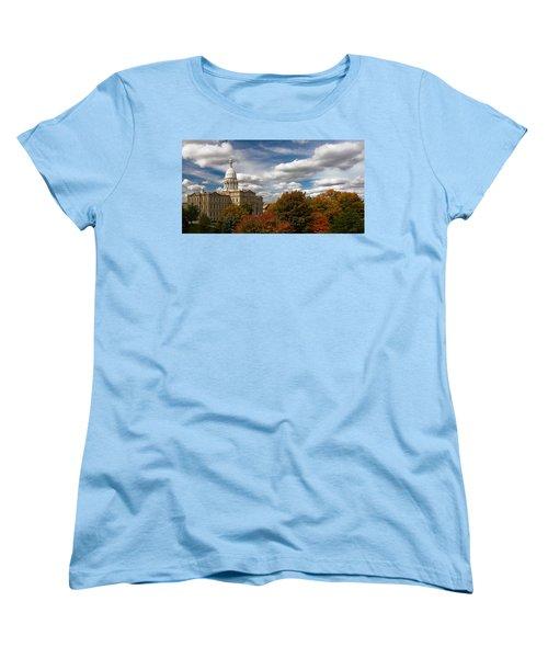 Women's T-Shirt (Standard Cut) featuring the photograph Michgan Capitol - Autumn by Larry Carr