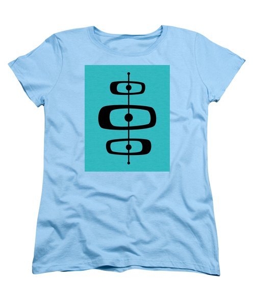 Mid Century Shapes 2 On Turquoise Women's T-Shirt (Standard Cut)