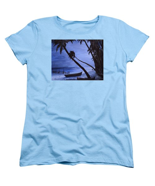 Women's T-Shirt (Standard Cut) featuring the painting Midnight Stroll In Paradise by Alan Lakin