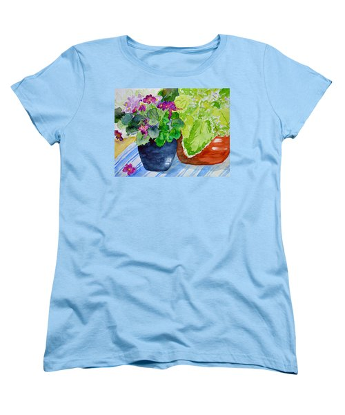Mimi's Violets Women's T-Shirt (Standard Cut) by Beverley Harper Tinsley