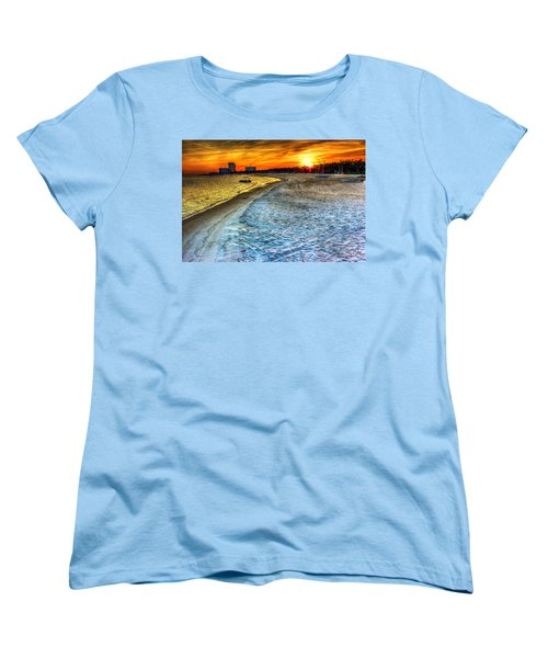 Beach - Coastal - Sunset - Mississippi Gold Women's T-Shirt (Standard Cut) by Barry Jones