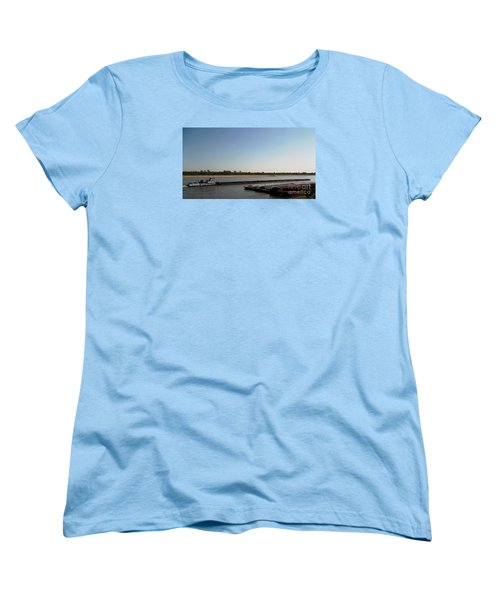 Mississippi River Barge Women's T-Shirt (Standard Cut) by Kelly Awad