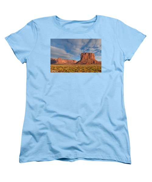 Women's T-Shirt (Standard Cut) featuring the photograph Mitchell Butte And Gray Whiskers In The Evening Light by Jeff Goulden
