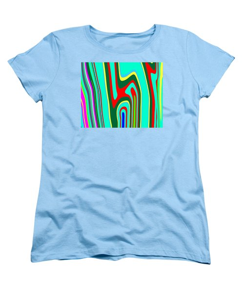 Women's T-Shirt (Standard Cut) featuring the painting Mod Stripes  C2014 by Paul Ashby