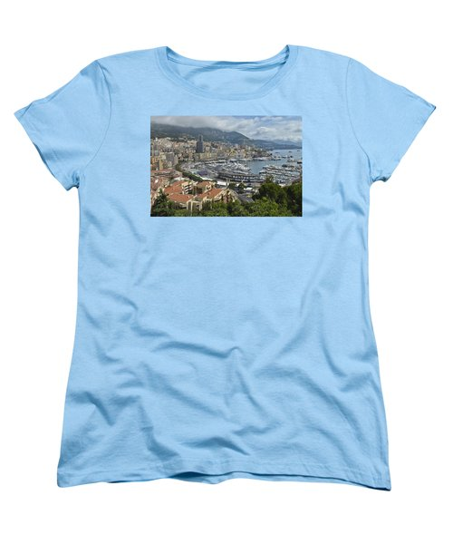 Women's T-Shirt (Standard Cut) featuring the photograph Monaco Harbor by Allen Sheffield