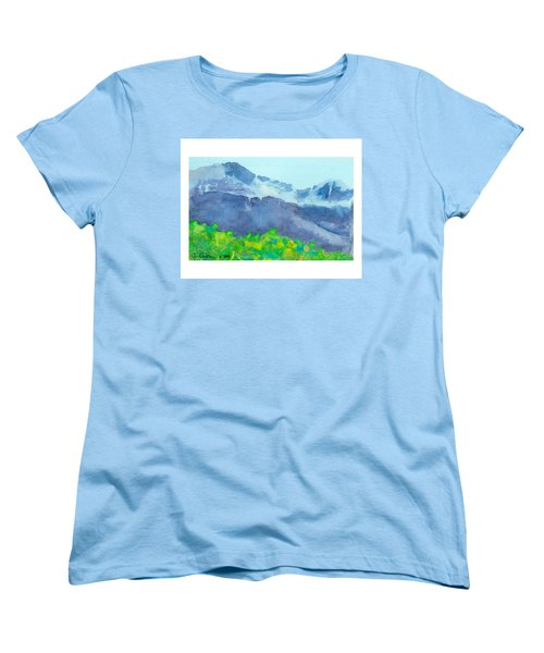 Women's T-Shirt (Standard Cut) featuring the painting Montana Mountain Mist by C Sitton