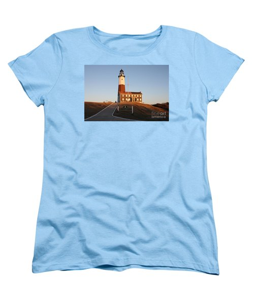 Montauk Lighthouse Entrance Women's T-Shirt (Standard Cut) by John Telfer