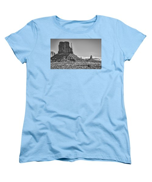 Women's T-Shirt (Standard Cut) featuring the photograph Monument Valley 3 Bw by Ron White