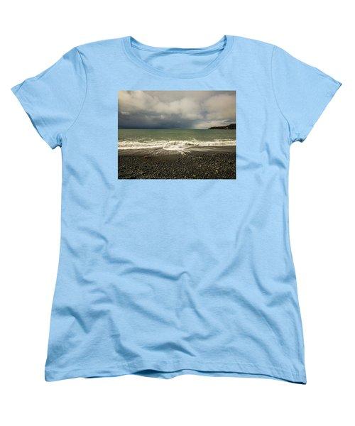 Moody Swirl French Beach Women's T-Shirt (Standard Cut) by Roxy Hurtubise
