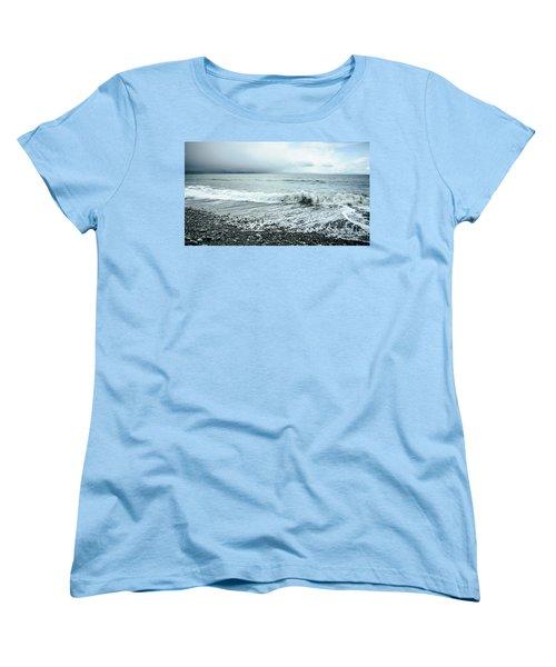 Moody Shoreline French Beach Women's T-Shirt (Standard Cut) by Roxy Hurtubise