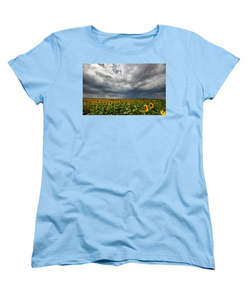 Women's T-Shirt (Standard Cut) featuring the photograph Moody Skies Over The Sunflower Fields by Ronda Kimbrow