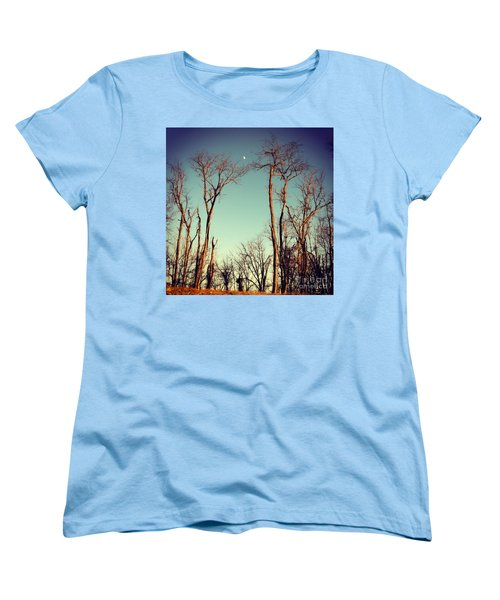 Women's T-Shirt (Standard Cut) featuring the photograph Moon Between The Trees by Kerri Farley