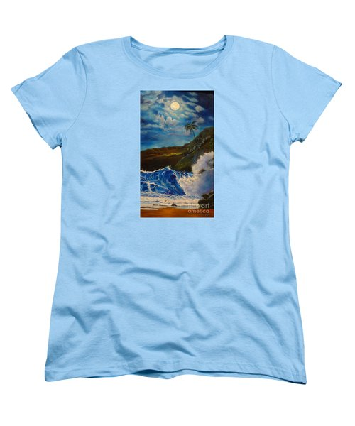 Women's T-Shirt (Standard Cut) featuring the painting Moonlit Wave 11 by Jenny Lee