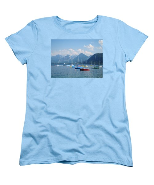 Women's T-Shirt (Standard Cut) featuring the photograph Moored Boats by Pema Hou